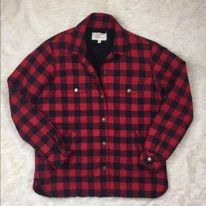 Buffalo plaid workmen Shirt Sherpa  jacket